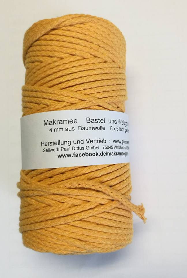 Makrameegarn 100 Meter natur - GEZWIRNT! 4 mm - Häkel-Web
