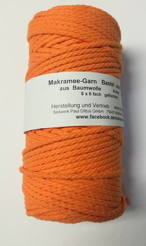 Makrameegarn 200 Meter in Orange - 4 mm geflochten